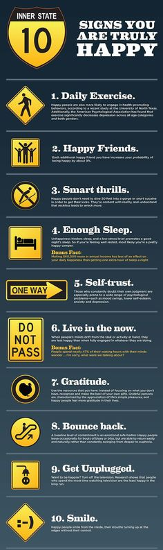 Happiness Infographic: 10 Signs That You Are Truly Happy | Infographic A Day