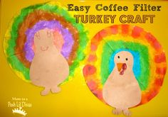 Super Easy Kids (faux) Tie Dye Coffee Filter Turkey Craft for Thanksgiving!
