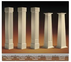Craftsman styled columns.  I like the plain tapered look on the right.  Second fave is the far left.
