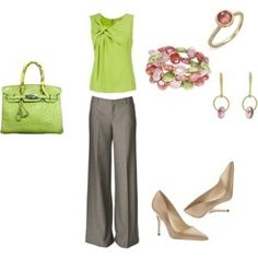 Very springy, and great for your first day of work. work clothes outfits, spring colors, first day of work outfit, green work outfit, casual summer outfits for work, work outfits, shoe