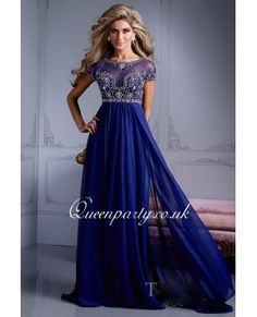 Royal Blue Chiffon Long Prom Dress With Beaded Cap Sleeves - Prom Dresses - Wedding Dresses