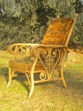 Very Rare Antique Natural Youth Size Victorian Wicker Morris Chair Circa 1890's