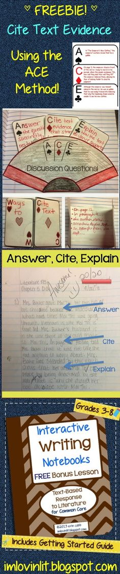 Link to blog post with free ACE templates and complete instructions for implementing the ACE method in your classroom. Can be used for grades 4-8. http://imlovinlit.blogspot.com