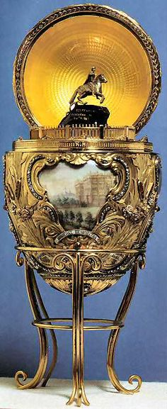 1903 Peter The Great Egg  Gift: Nicholas II to Alexandra Fyodorovna  Owner: Virginia Museum of Fine Arts, Richmond, USA  Height: 11.1cm