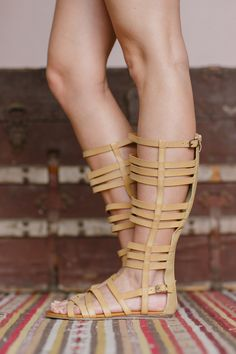 Gladiator Knee-Highs - Sandals from Gypsy Outfitters brown tall gladiator sandals