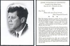 Funeral card - JFK
