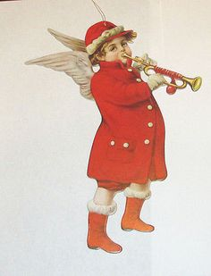 NEW LARGE VICTORIAN DIE CUT LITHOGRAPHED CHRISTMAS ANGEL CHILD TRUMPET ORNAMENT