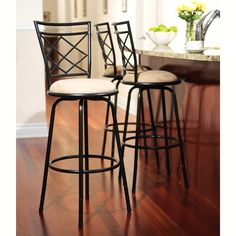 Avery Adjustable Metal Barstools, 3 Piece Set, Black