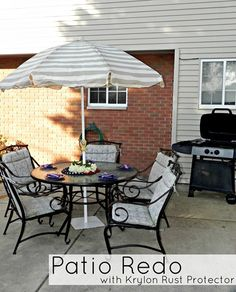 Patio Set Makeover with Krylon Rust Protector spray paint - Mad in Crafts  #krylon #diy