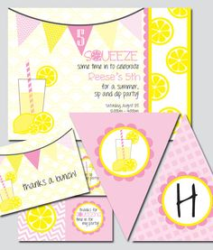 Lemonade Party Printable Invitation and Package. $30.00, via Etsy.