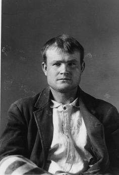 Butch Cassidy's mug shot, Wyoming Territorial Prison, 1894.  He served 18 months for horse stealing and formed the Wild Bunch when he was released in 1896.