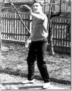 Elvis Presley playing catch