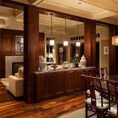 wine bars, dining rooms, open floor plans, living rooms, basement, living room designs, dining room design, room dividers, kitchen designs