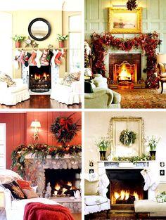 Retro Fireplace Mantel For Christmas Day