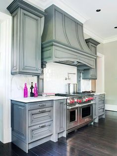 pewter gray cabinets and hood