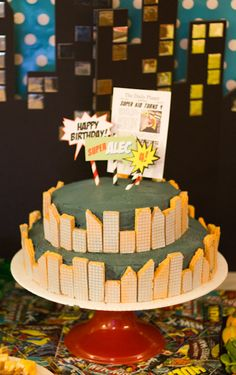 Superhero Birthday for Kids. Easy cake idea. Make buildings out of wafer cookies.