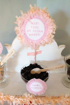 "This has the most awesome ideas for serving treats at a party.  (love the ""Make your ice cream happy"" sign!)"