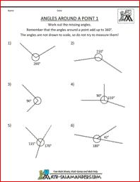 Angles Around a Point, math geometry worksheets 5th grade