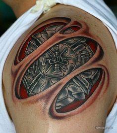 """Bio-Organic Maltese Cross"" Firefighter Tattoo (shoulder) | Shared by LION"