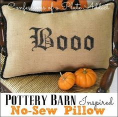 CONFESSIONS OF A PLATE ADDICT Pottery Barn Inspired No-Sew  Boo Pillow
