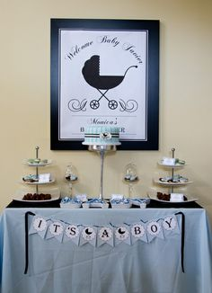 Boy Baby Shower dessert table!  See more party ideas at CatchMyParty.com!