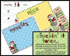 Checking It Twice Word Sorting Game $3.00