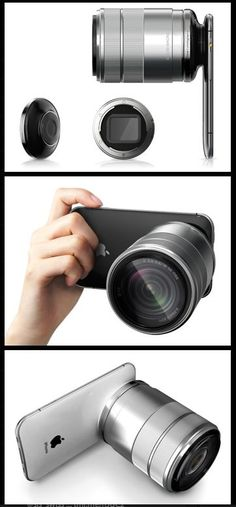 iPhone with large camera lens for photographers. Cool! #geek #gadgets