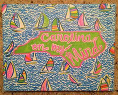 Lilly Pulitzer Inspired Patterned State Canvases with Quotes- Completely Personalized on Etsy, $24.20