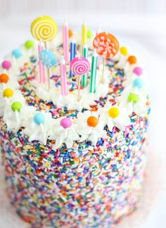 Sprinkles  Lollipops Colorful Birthday Cake