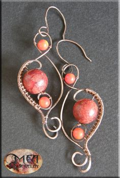 Tune- handmade, wire wrapped earrings, orange and red coral