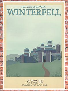 Retro Travel Poster Game of Thrones Winterfell by TeacupPiranha