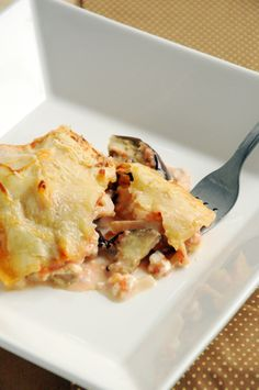 Lasanha de berinjela e queijo cottage
