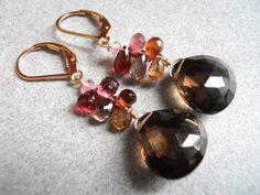 Chocolate Cherries smokey quartz sapphire and by SueanneShirzay, $52.00