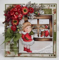Tilda in Christmas coat, Merry little Christmas collection, Magnolia stamps