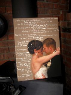 Canvas your photo and personalized vows or first dance lyrics