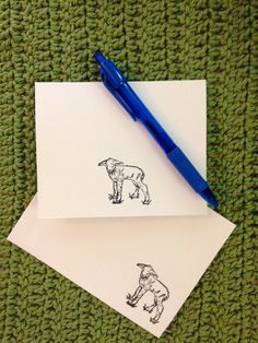 "Crochetyknitter Cards Lamb / Baby Sheep Stationery - Blank Inside - 4"" x 5"""