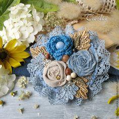 Броши в стиле бохо своими руками Цветы из ткани Pinterest