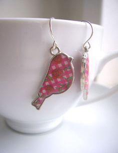 Pink Gingham Birdies earrings  sweet bird by themagpiesdaughter, $12.00
