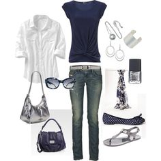 navy and silver, created by #kristen-344 on #polyvore. #fashion #style Old Navy Jane Norman