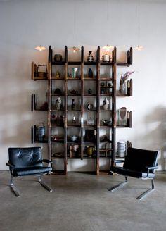 organize studio, shelves, wall shelving, shelving units, loft, pallet, bookcas, display, storage ideas