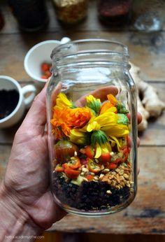 Treating Symptoms with the Calendula and Elderberry Cold and Flu Elixer -  When you start feeling the first symptoms of a cold or flu coming on, take 2-3 teaspoons elixir every two to three hours. Frequent doses are the key to effective treatment! Listen to your body to tailor the dosage to your needs.