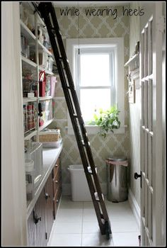 amazing pantry w/ library ladder.  blog gives info on how they made the ladder & ordered hardware, etc.