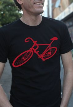 bike bicycle t shirt, red on black american apparel t shirt- available sizes- S, M, L, XL- WorldWide Shipping