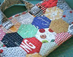 Natural Patchwork Hexagon Bag