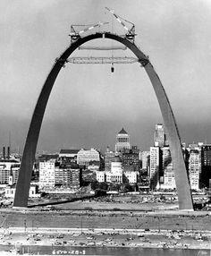 Gateway Arch under construction in St. Louis, circa 1963-65