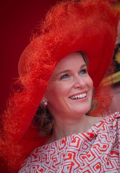 Queen Mathilde of Belgium during the military parade on the Belgian National Day, 21.07.2014-SPECTACULAR Red Color HAT