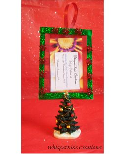 Christmas tree picture frame ornament in by WhisperKissCreations, $10.00