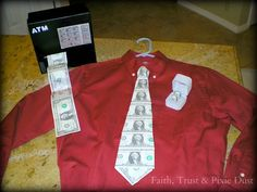 ntered. (Hubby reminded me that we don't have a money tree in the back yard, so I used one dollar bills for this project Grad Gifts, Money Lei, Missionari, Father Day, Gift Ideas, Fathers Day Gifts, Graduation Gifts, Money Gift, Neck Ties