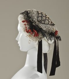 Bonnet (Fanchon): ca. 1860, English, linen net with lace, silk-velvet ribbon and faux-pearl glass beads.