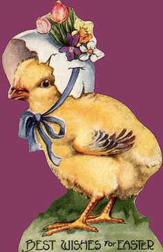 Chick with egg shell bonnet. Vintage Easter Card